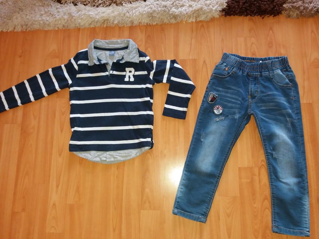 90f23e6317 104/110 kisfiú egyszer használt pulcsi+farmer egyben eladó - 0